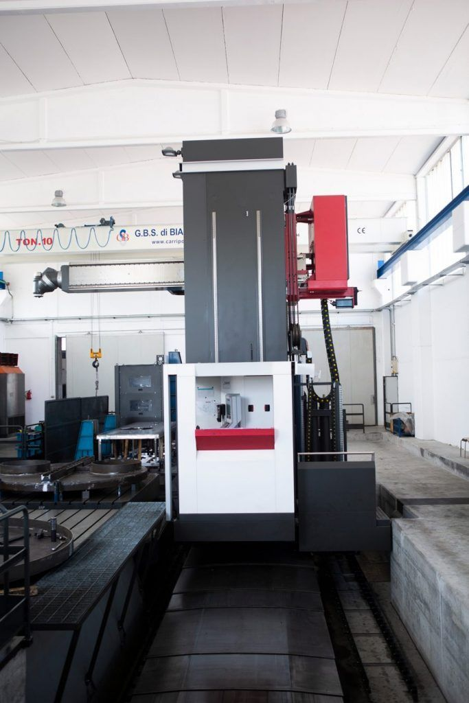 X axis of a floor type milling machine